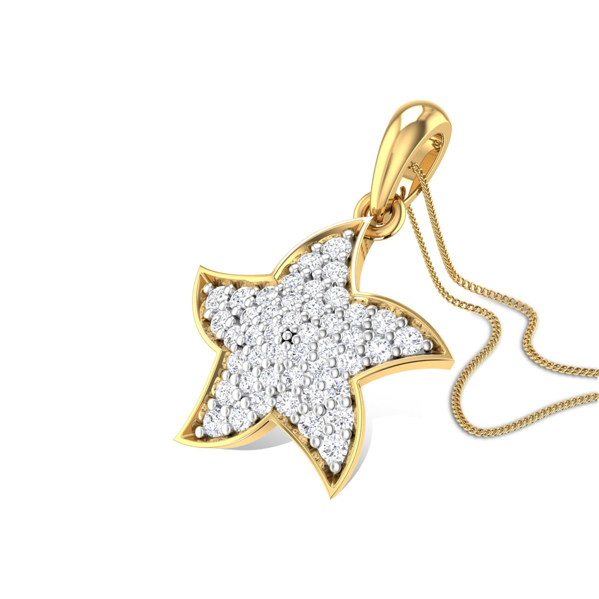 Gold Star Diamond Pendant