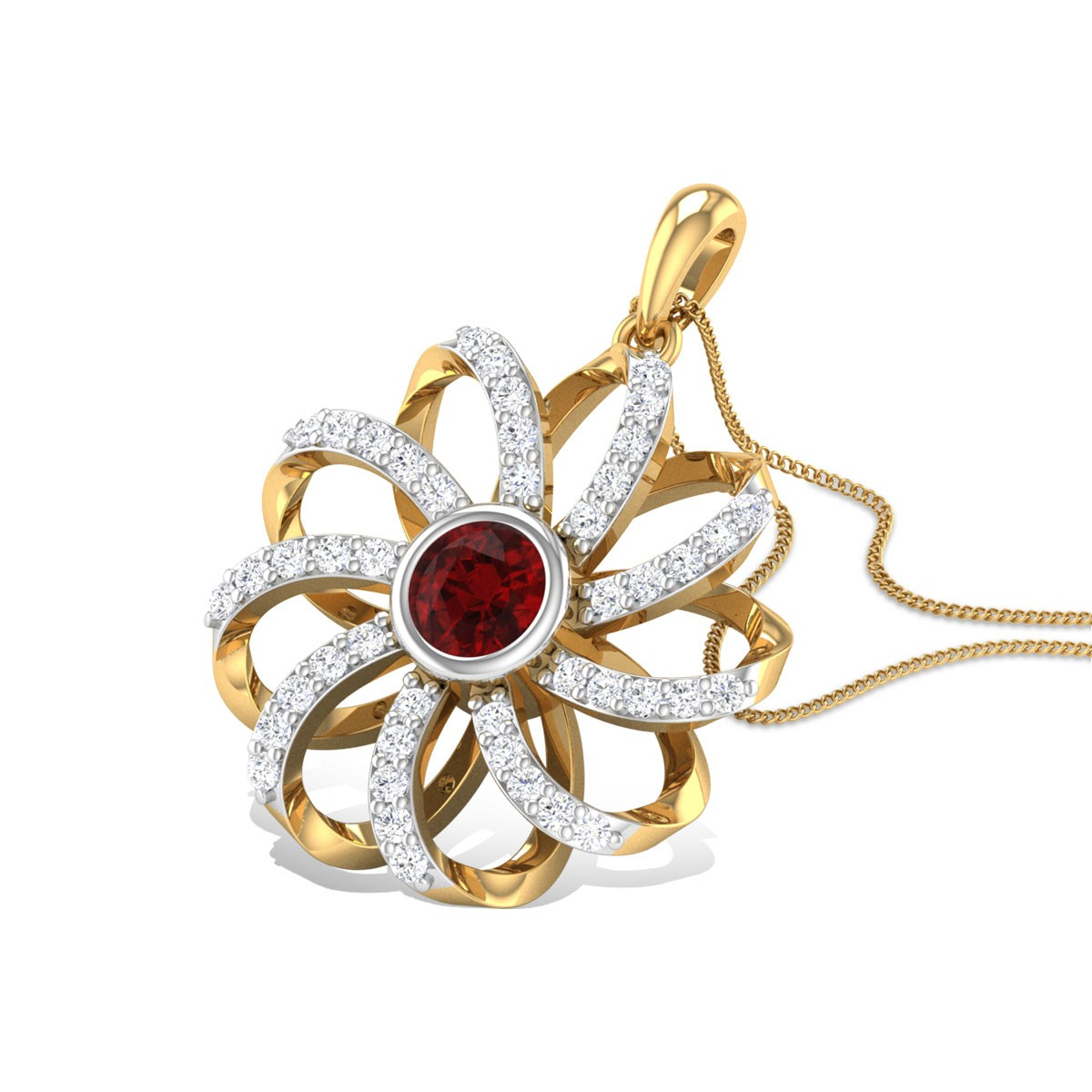 Raibhya Diamond Ruby Pendant