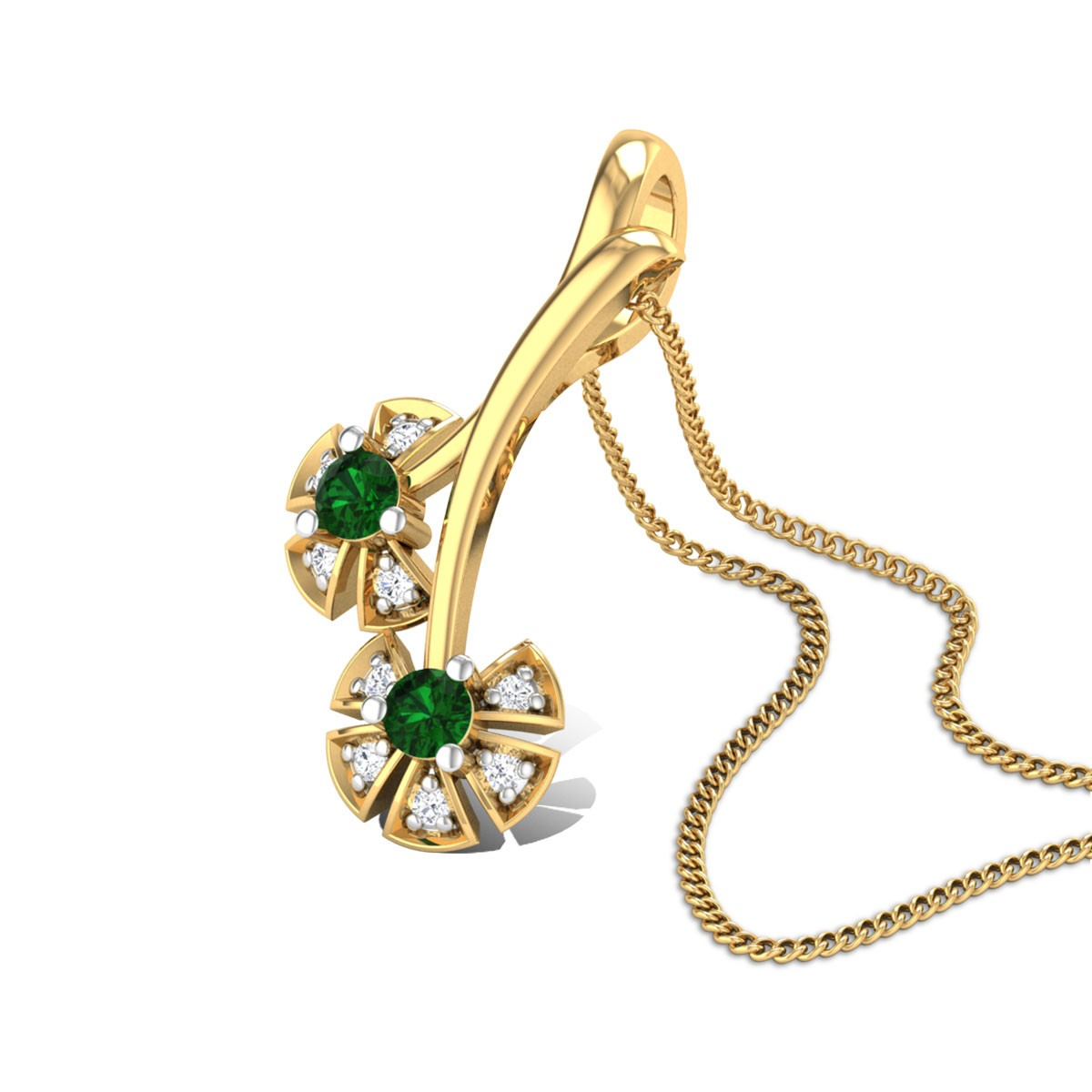 Twin Flower Emerald Pendant