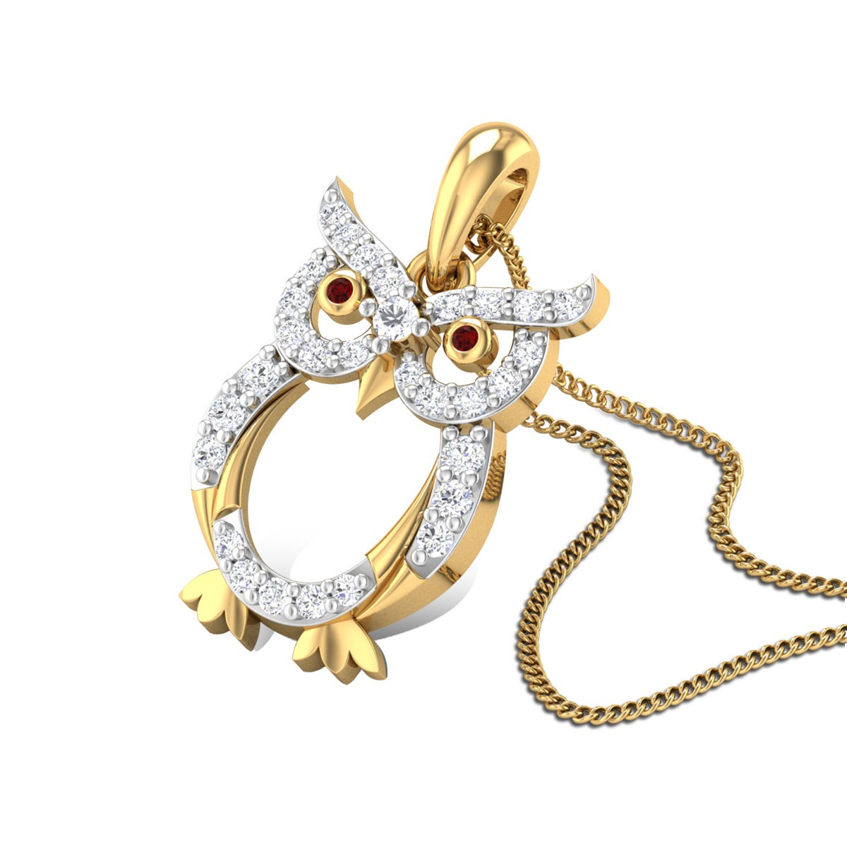 Shinning Owl Diamond Pendant