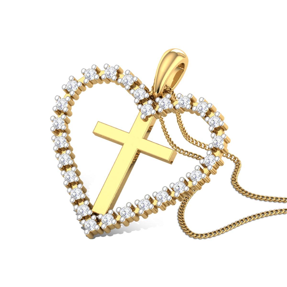 Cross Heart Diamond Pendant
