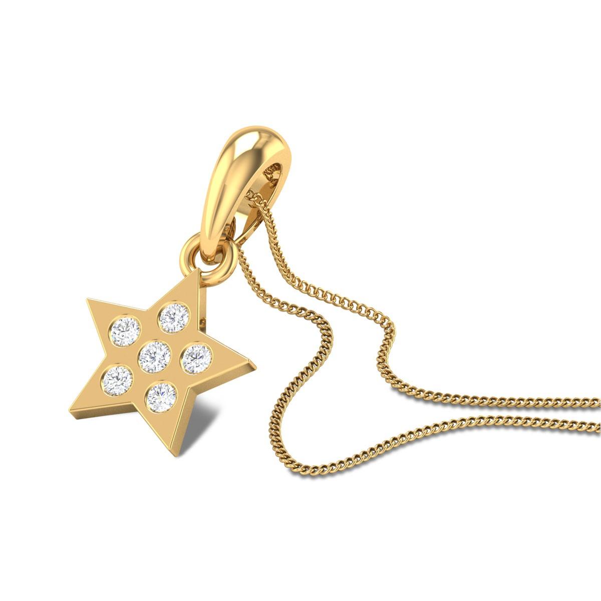 Button Star Diamond Pendant