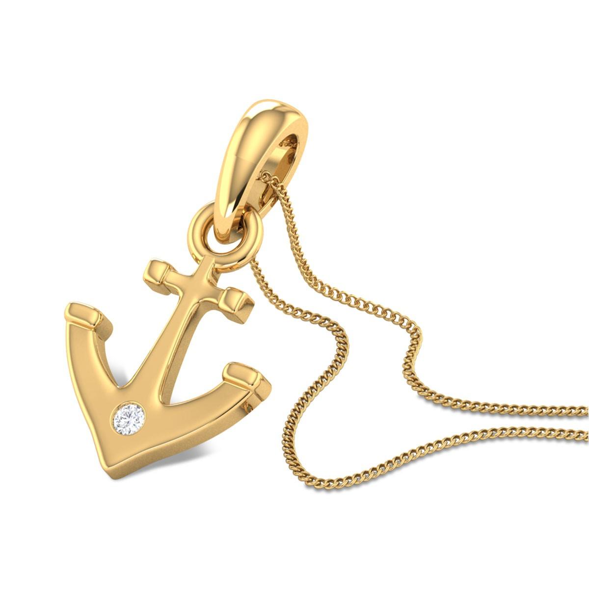 Anchor Diamond Gold Pendant