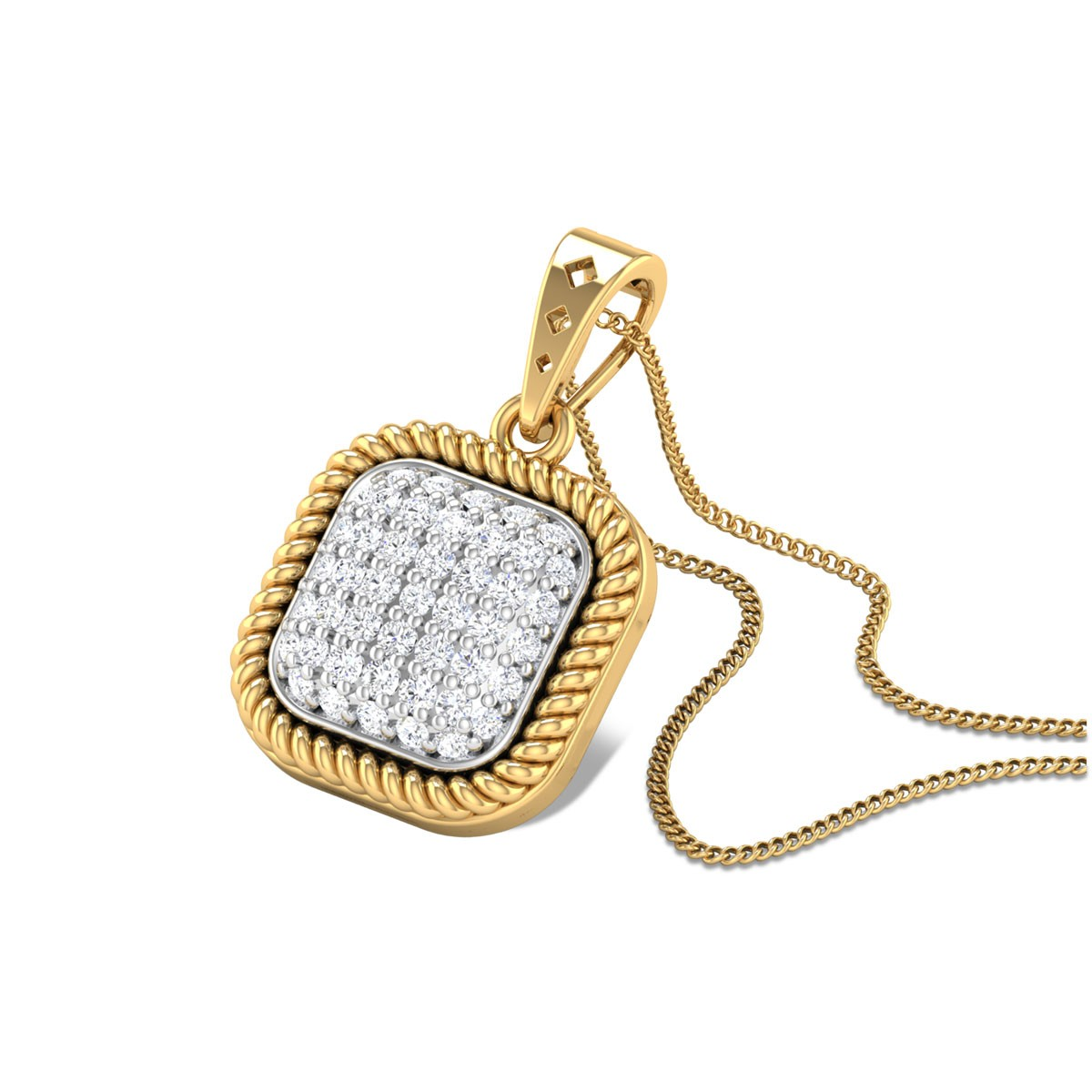 Braided Diamond Cluster Pendant