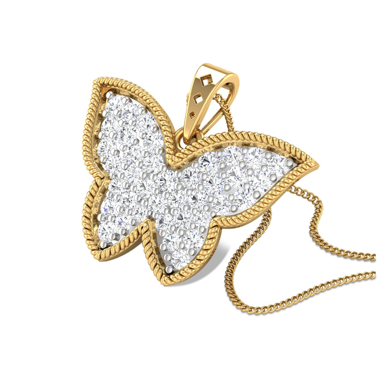Braided Butterfly Diamond Cluster Pendant