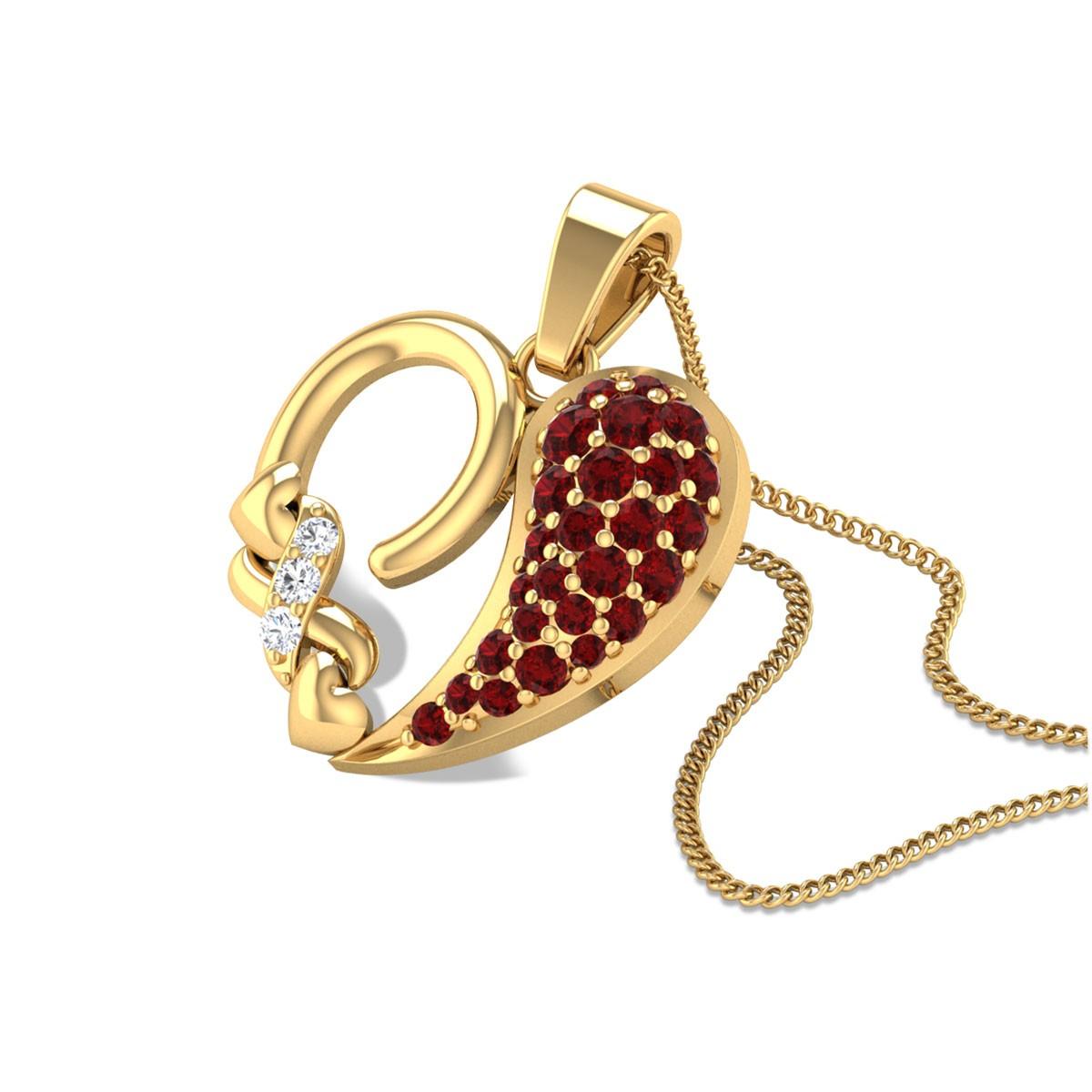 Ruby Heart Diamond Pendant