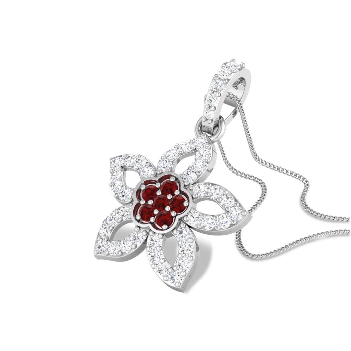 Aieeda Floral Ruby Pendant