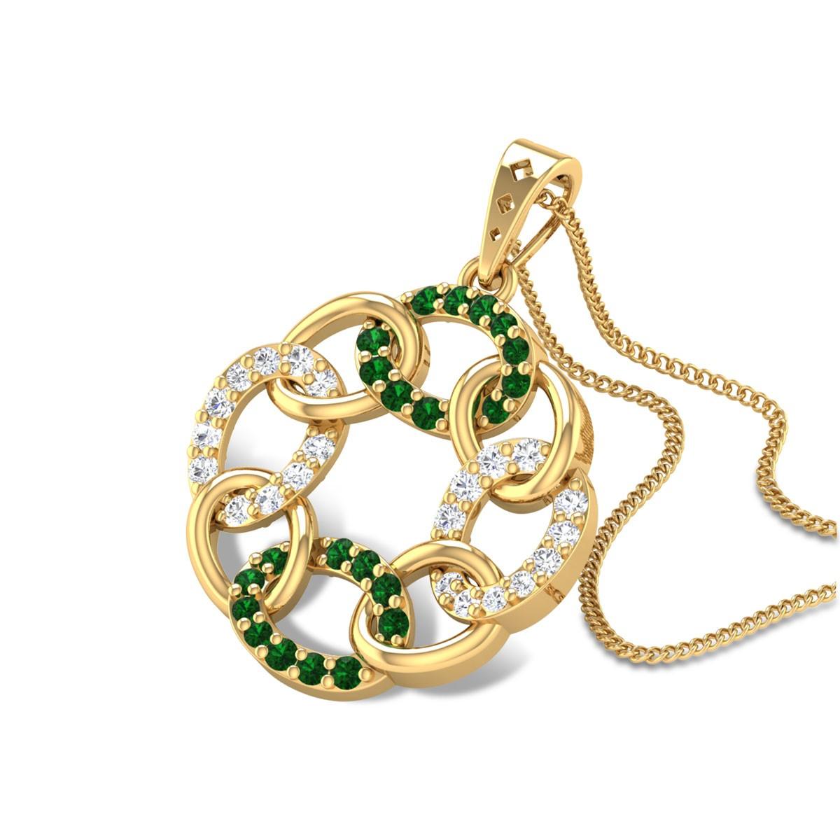 Allegra Interlinked Emerald Pendant