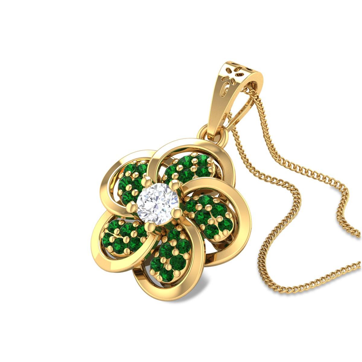Abeer Floral Emerald Pendant