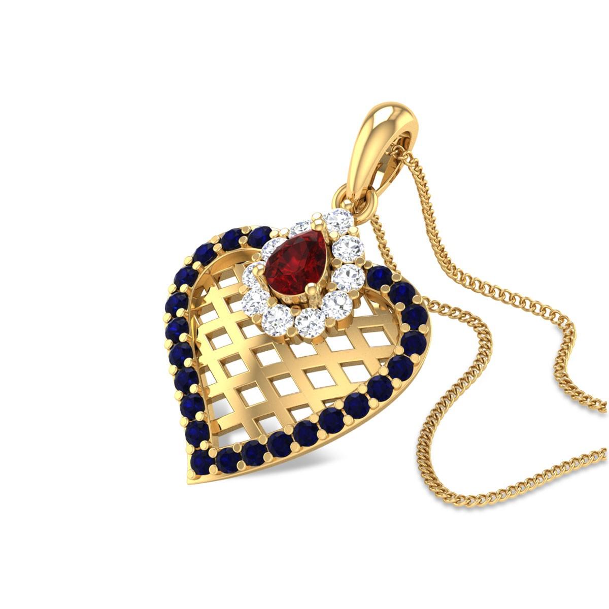 Abida Trellis Sapphire Pendant