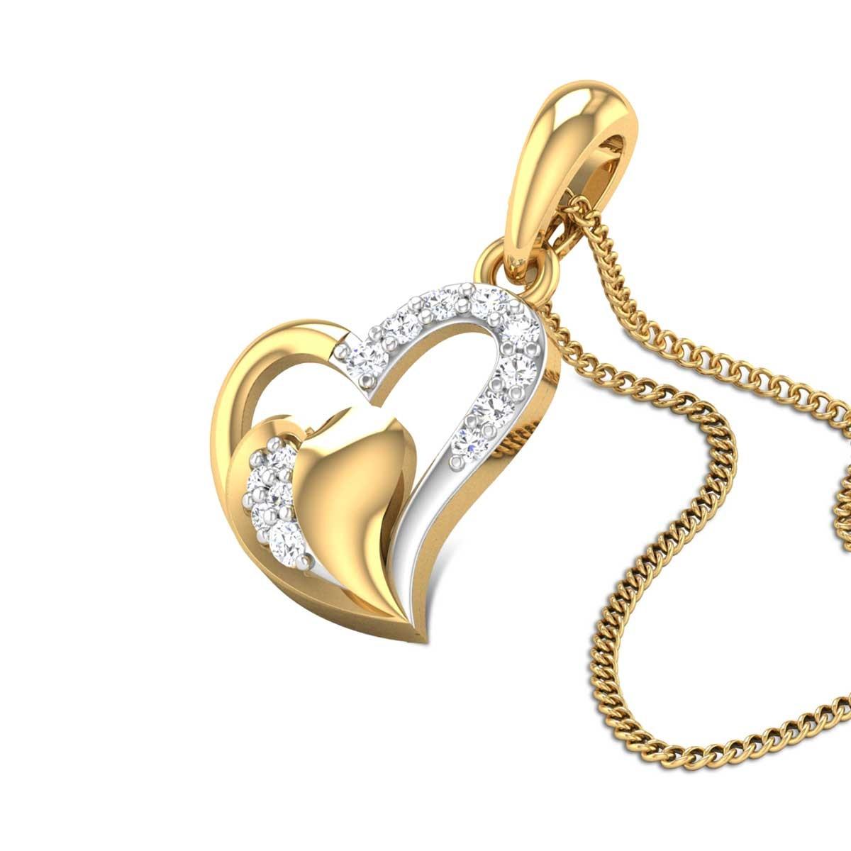 Aadithi Dual Heart Diamond Pendant
