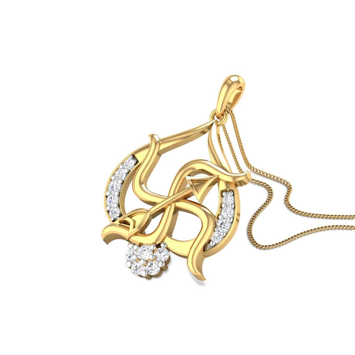Trishul Swastik Diamond Pendant