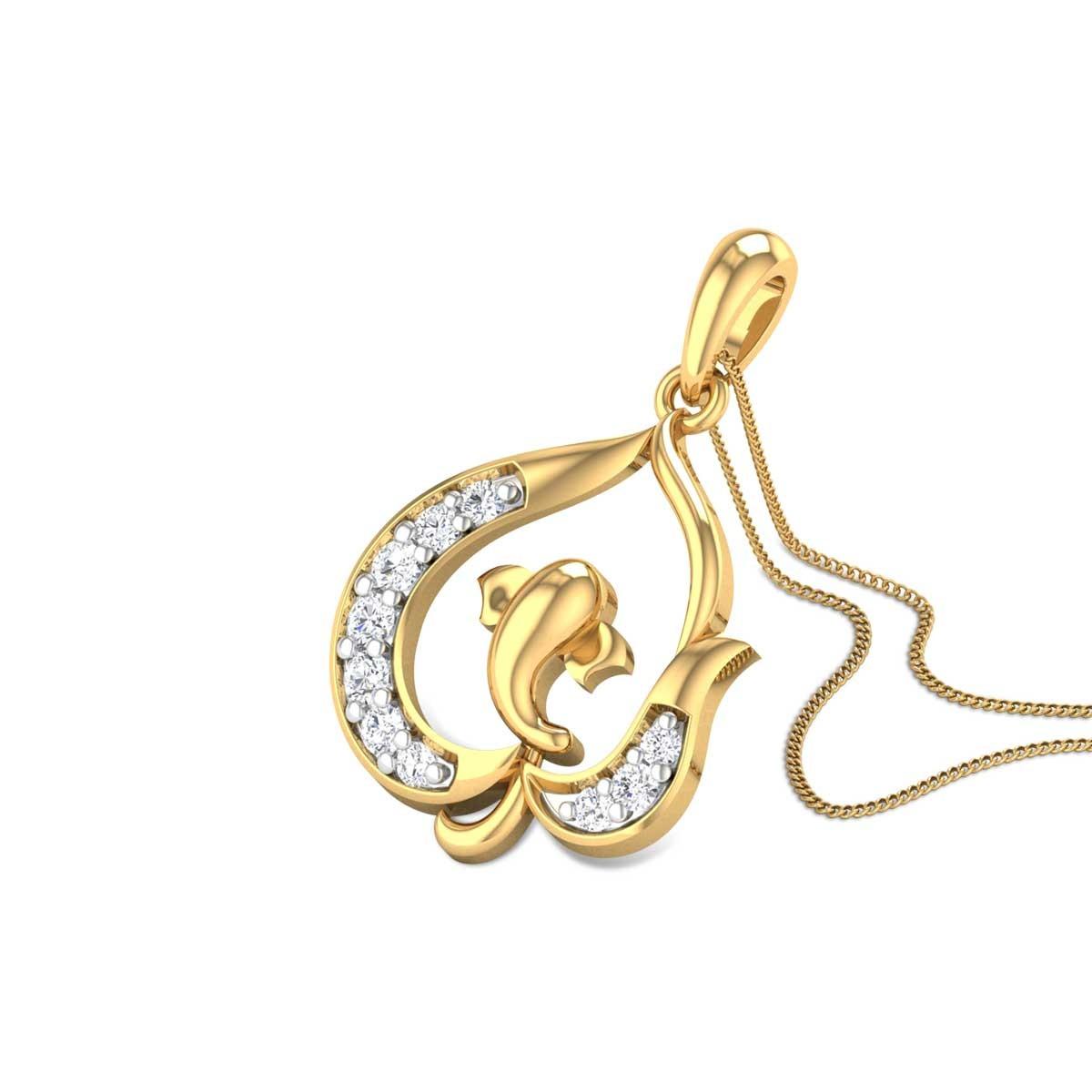 Peepal Leaf vinayaka Diamond Pendant