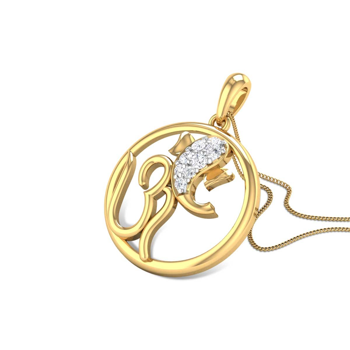 Om Ganastuta Diamond Pendant
