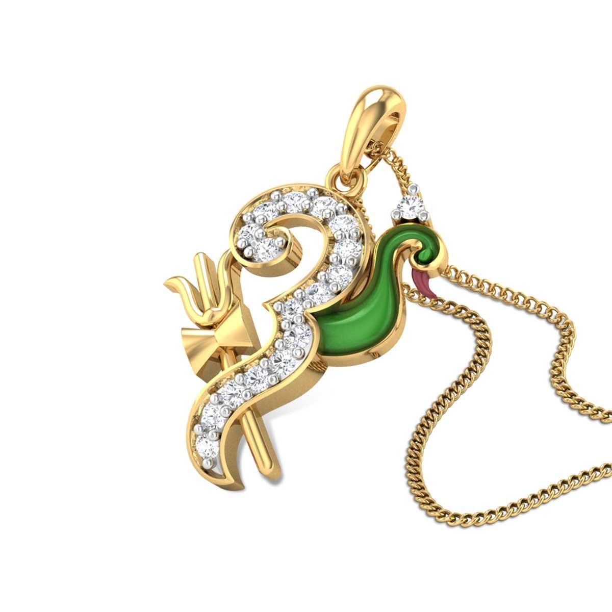 Om Mayurakhsi Diamond Pendant