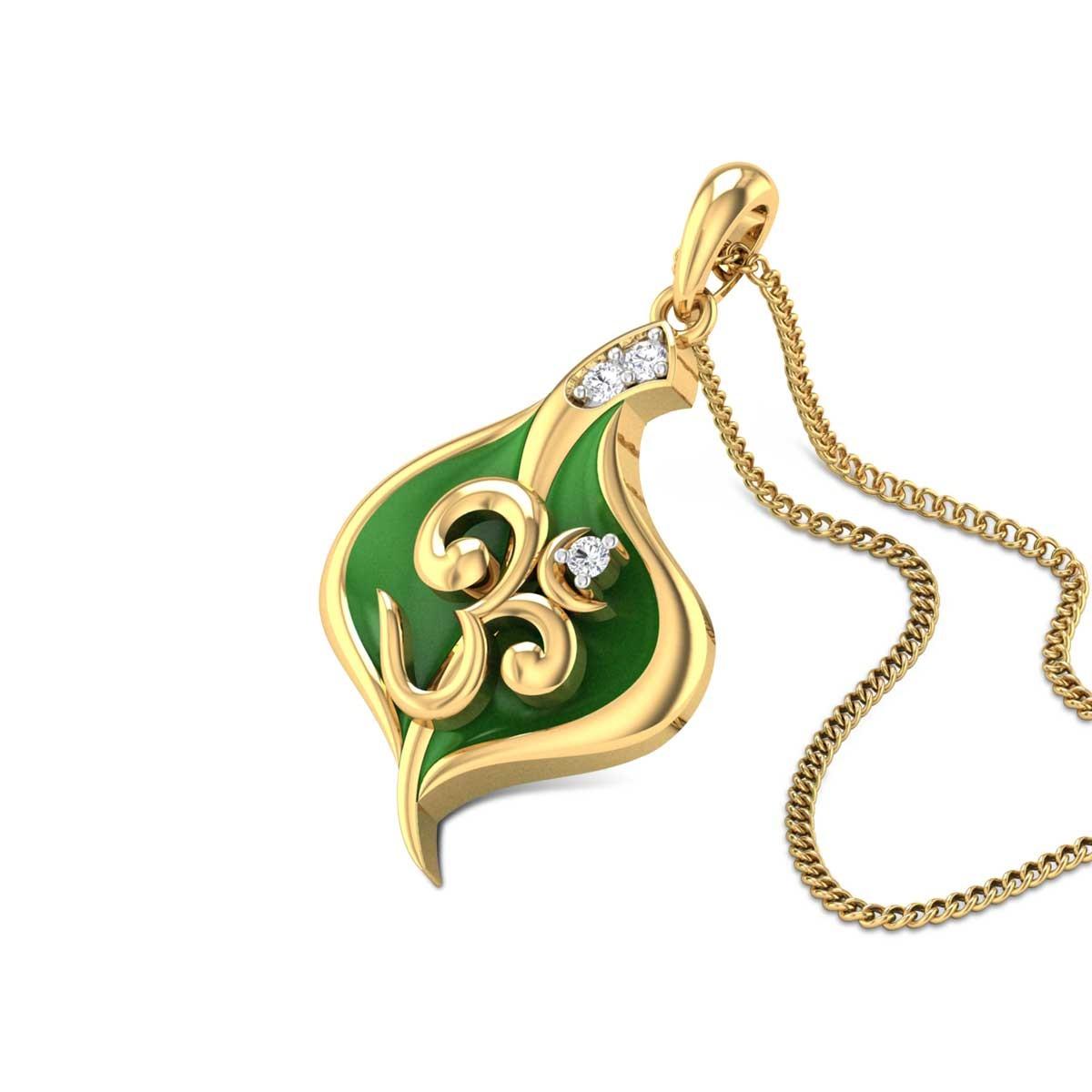 Om Leafy Diamond Pendant