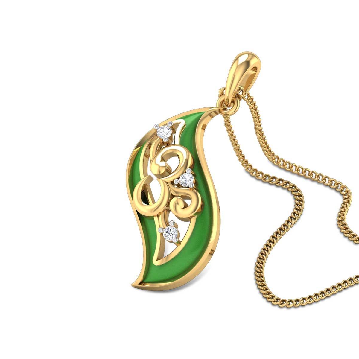 Leafy Om Diamond Pendant