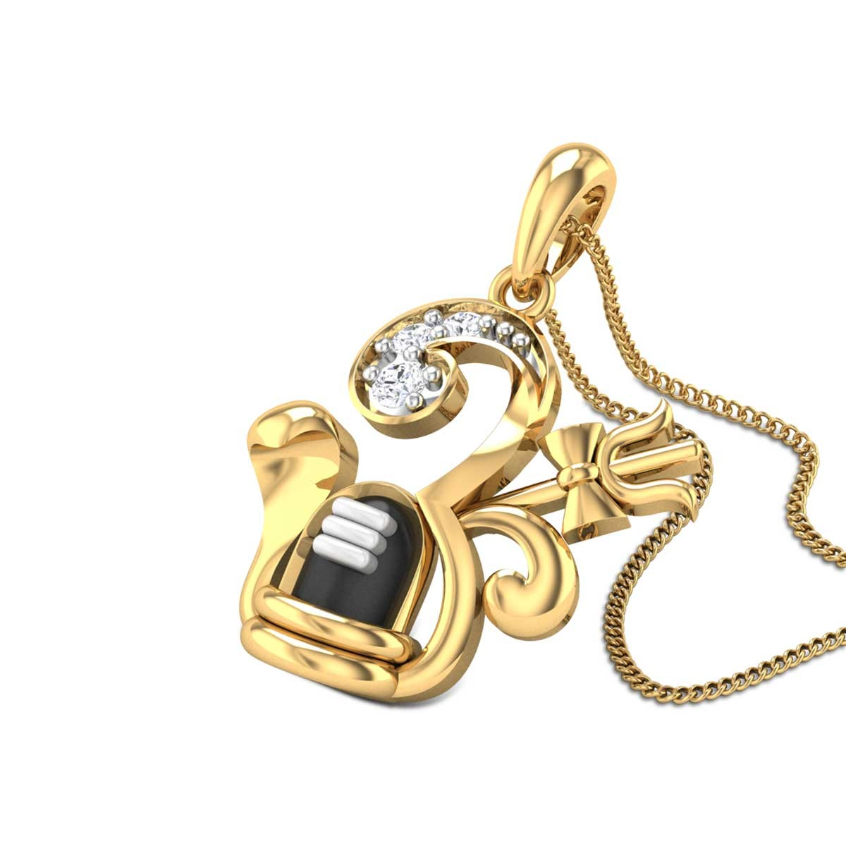 Om Mahadev Diamond Pendant