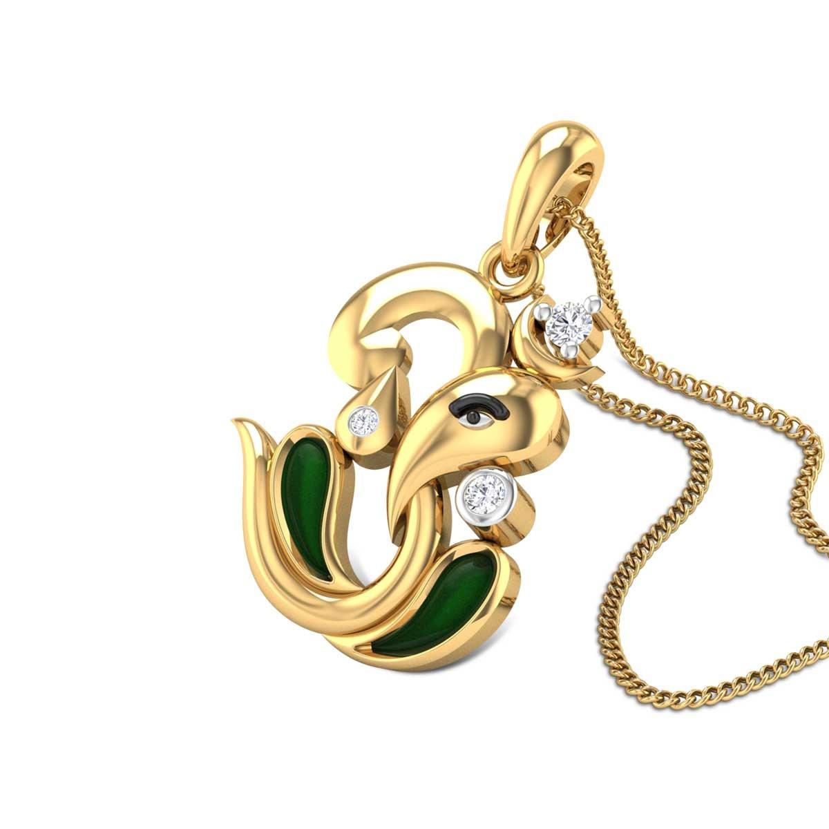 Ganamurdhabhishikta Om Diamond Pendant