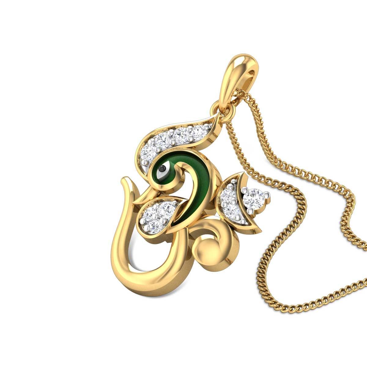 Mayurika Om Diamond Pendant