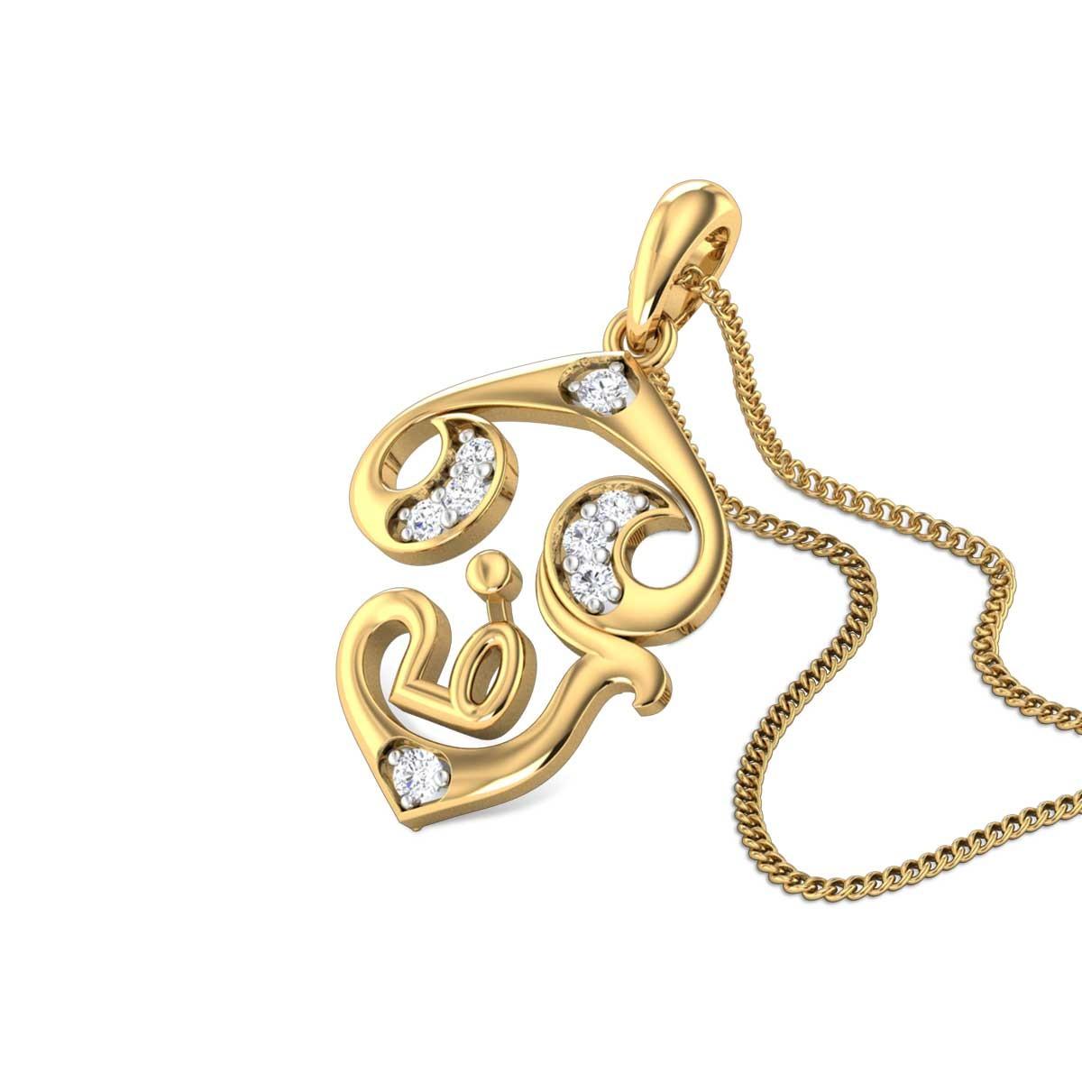 Tamil Om Diamond Pendant