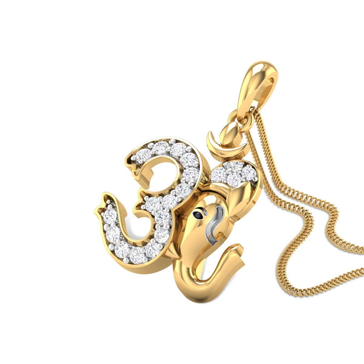 Gunasthayi Diamond Om Pendant