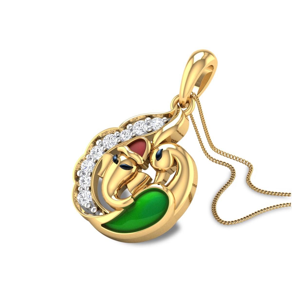 Peacock Vighnahara Diamond Pendant