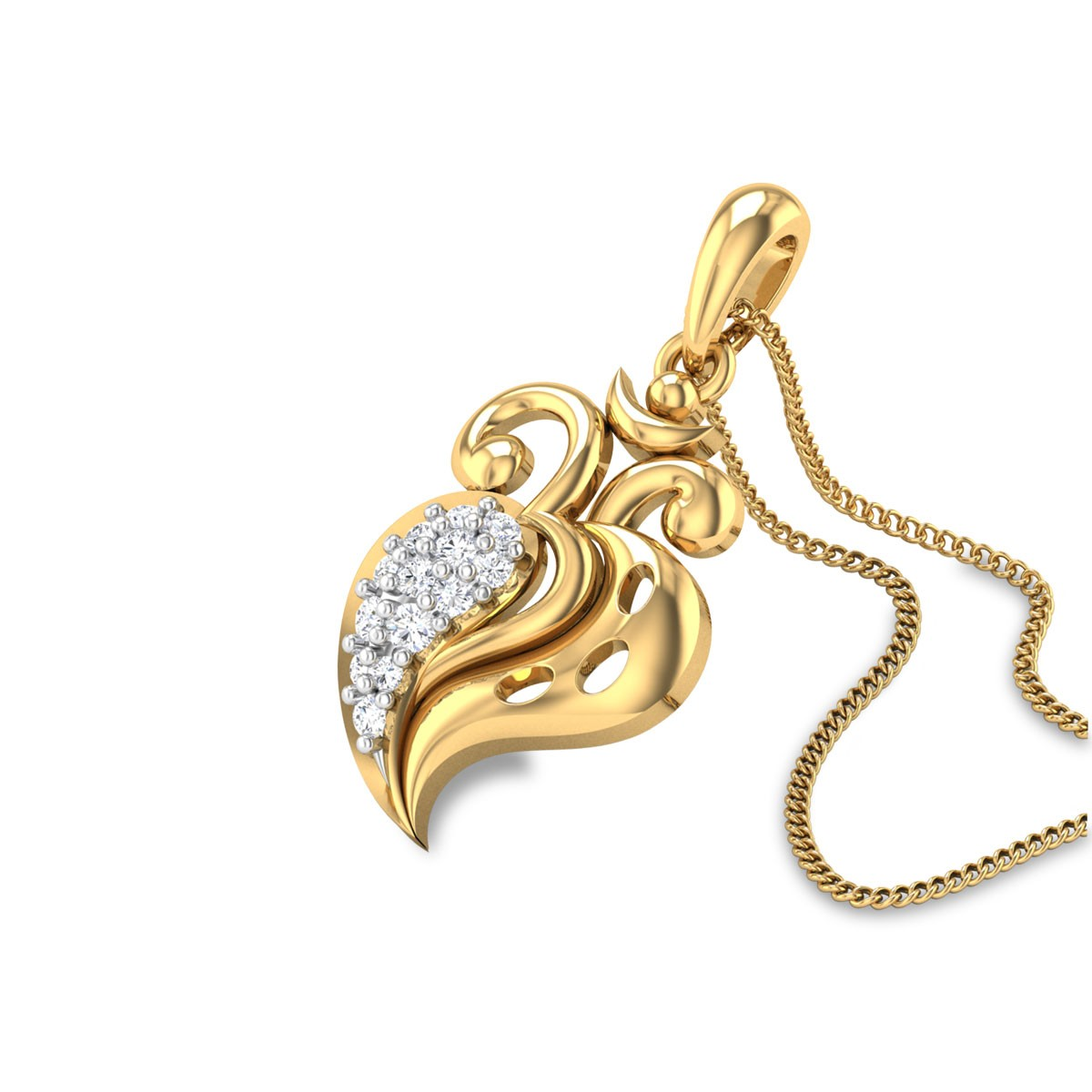 Diamond Leafy Om Pendant