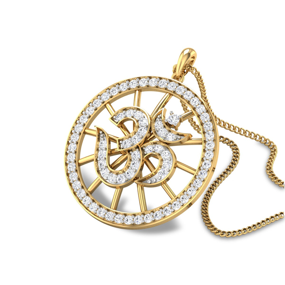 Circular Diamond Om Pendant