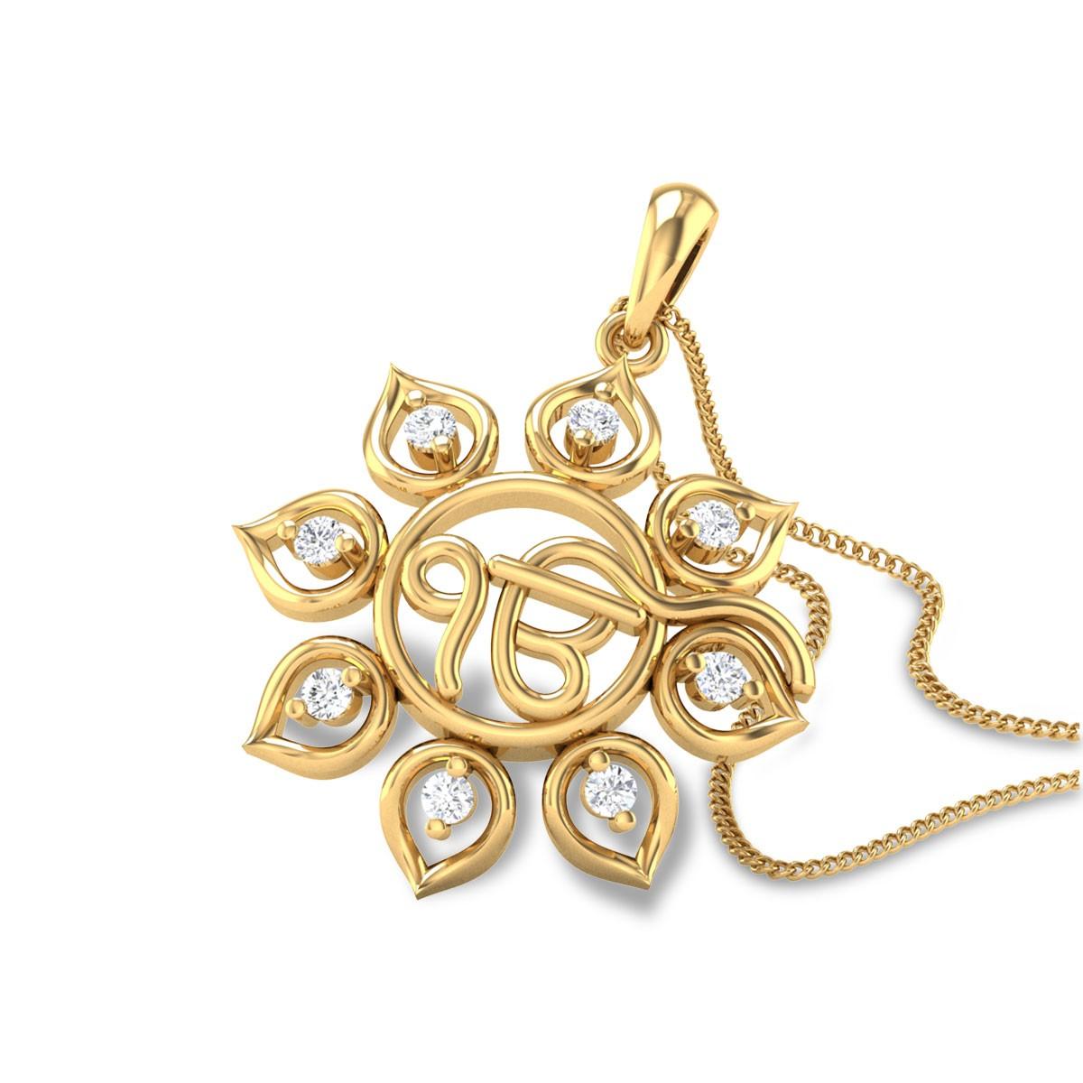 Floral EK Onkar Diamond Pendant