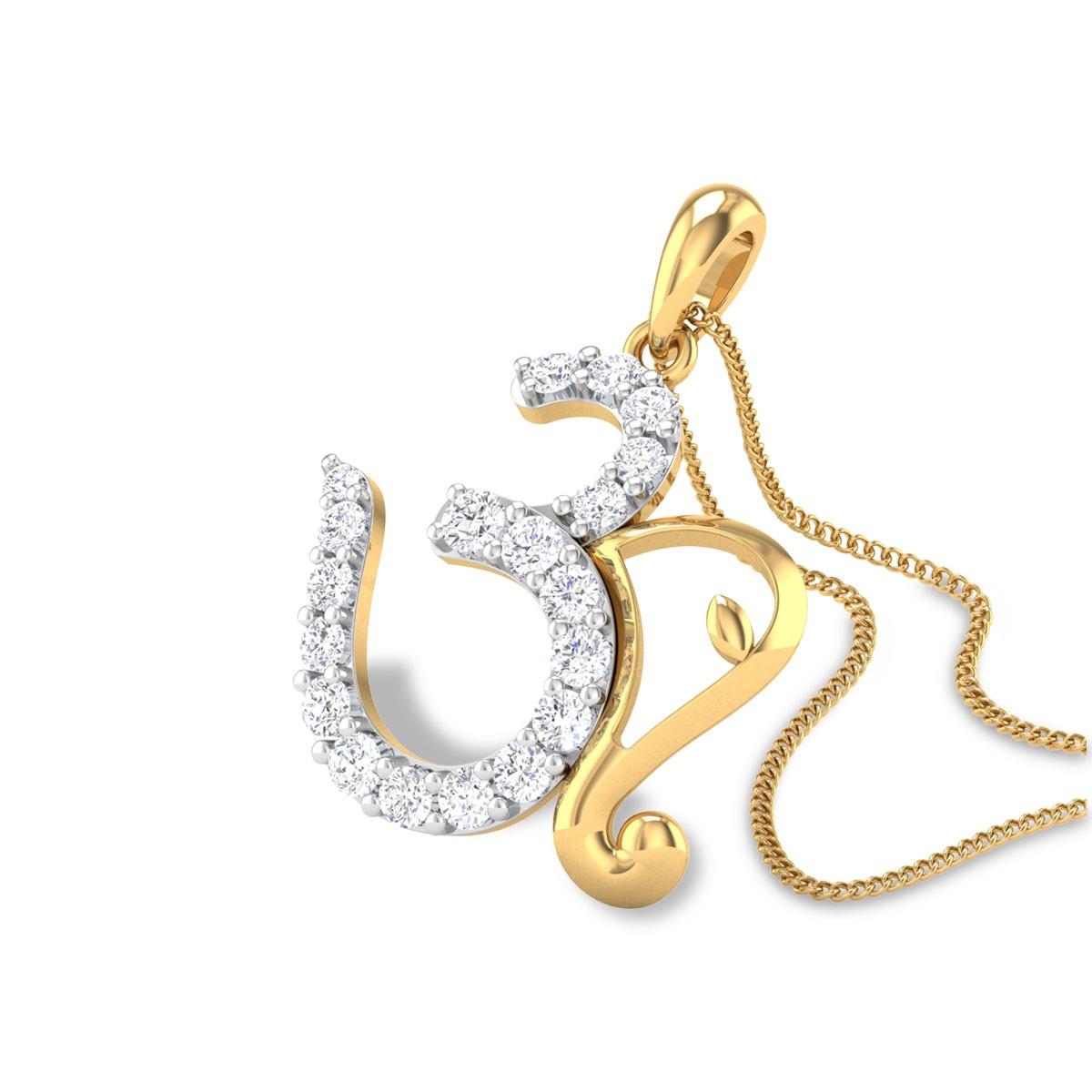 Avaneesh Diamond Aum Pendant