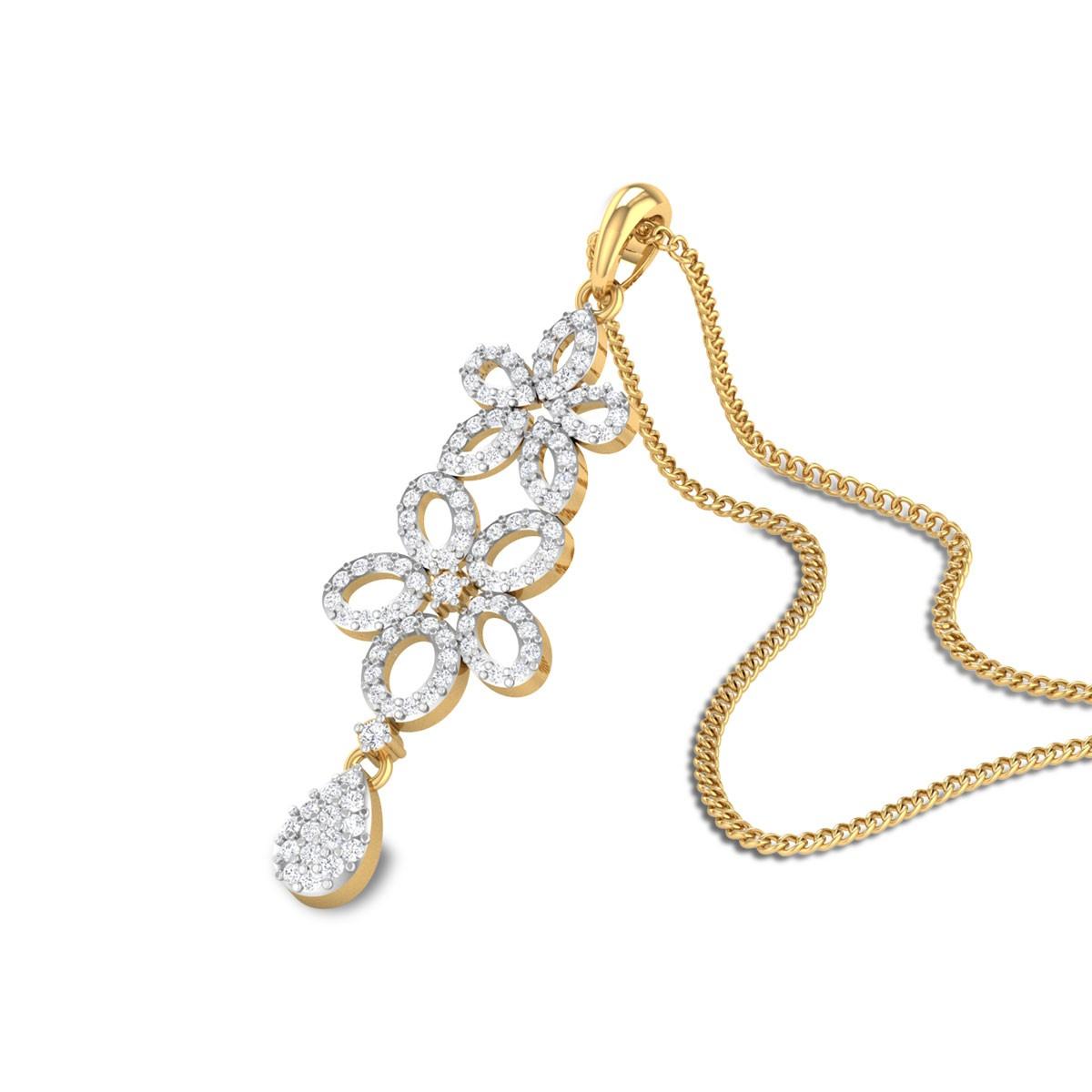 Jalen Diamond Drop Floral Pendant