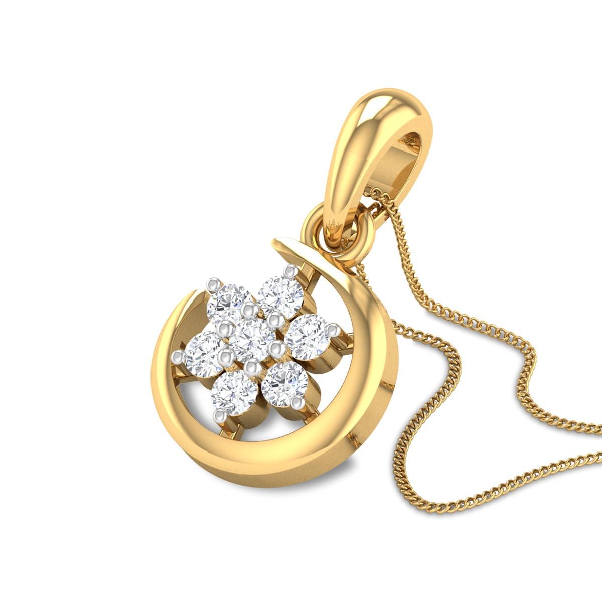Crescent Floral Diamond Pendant