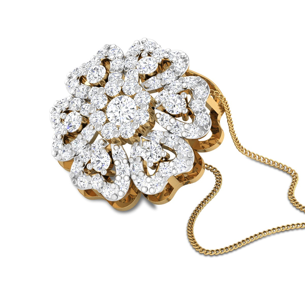 Sacha Hearty Floral Diamond Pendant