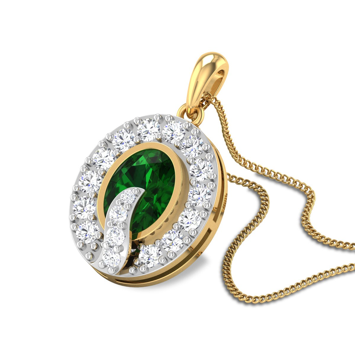 Toril Diamond and Emerald Pendant