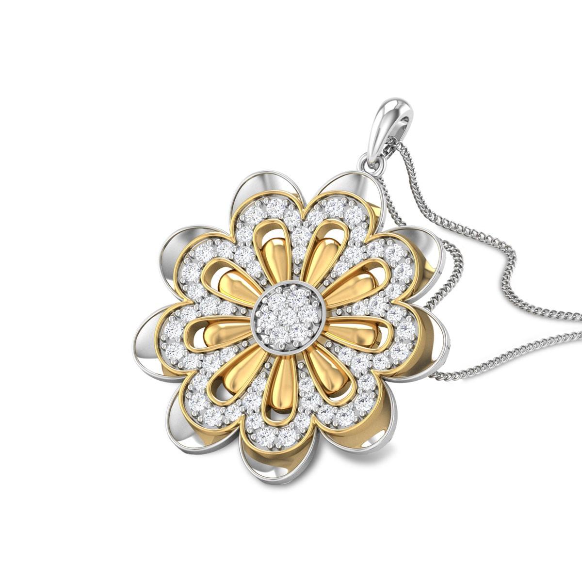 Leonie Dual Tone Floral Diamond Pendant