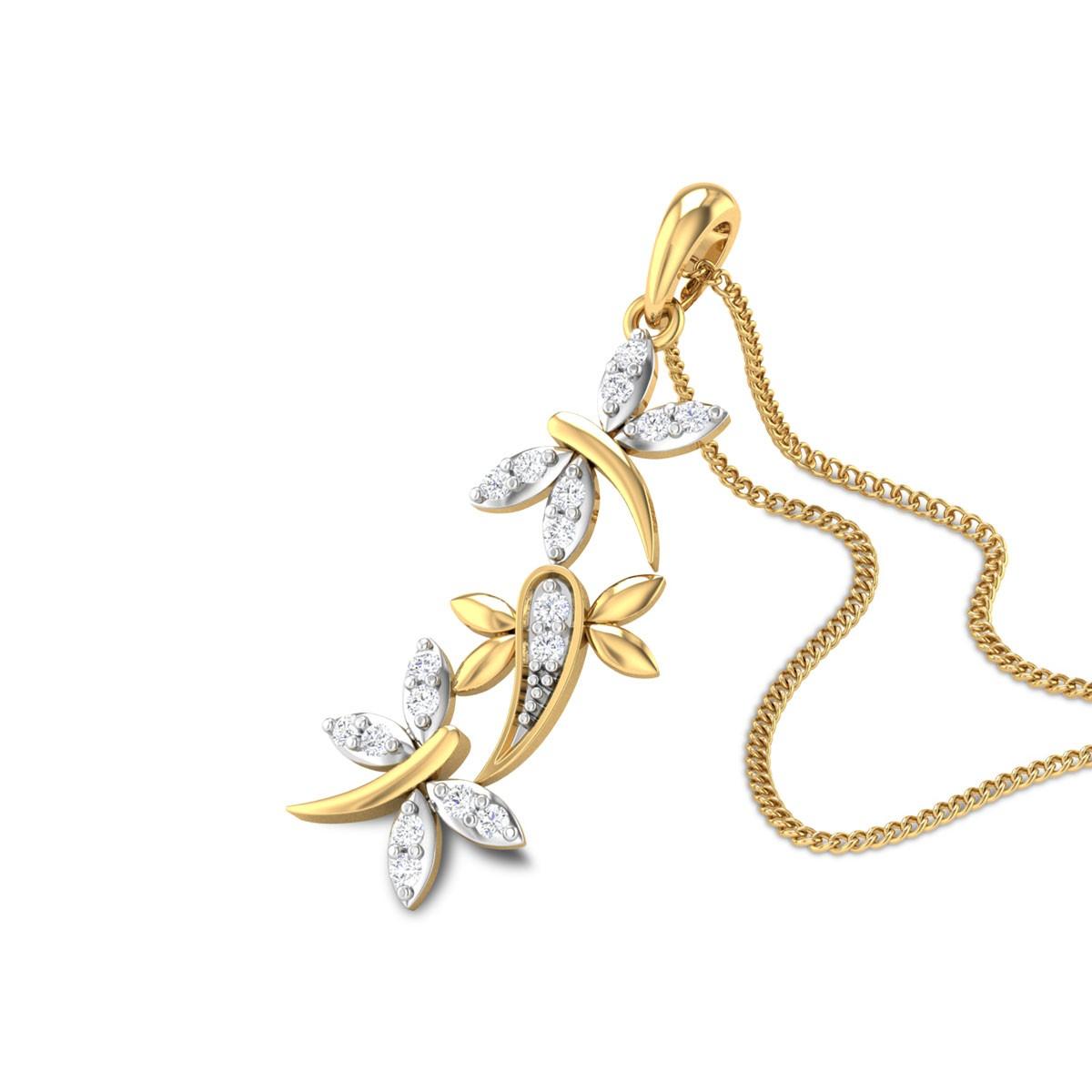 Trio Butterfly Diamond Pendant