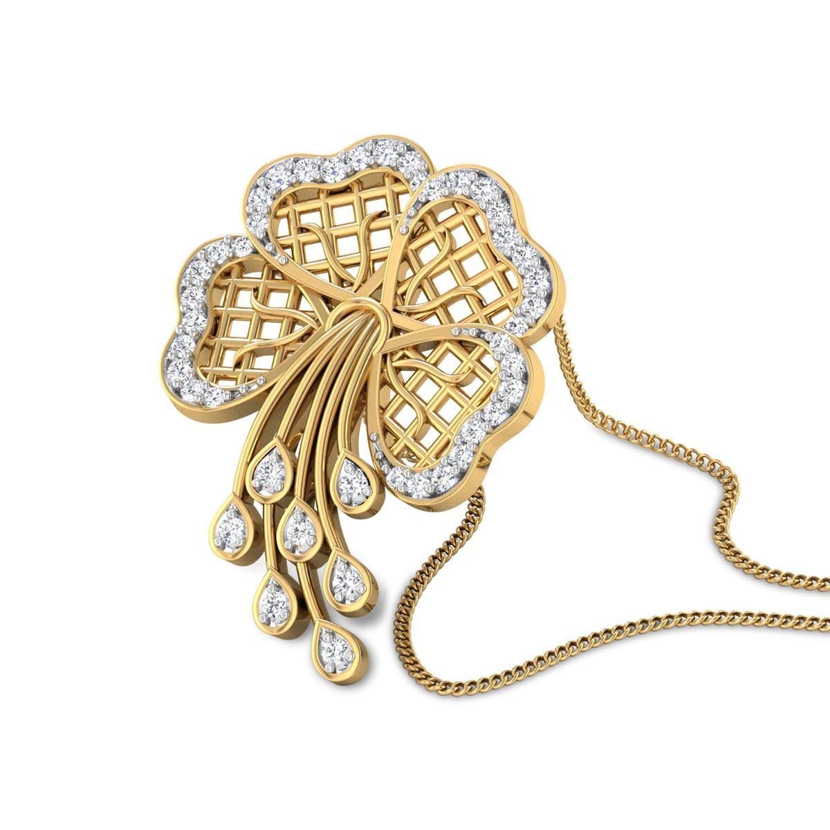 Liesel Floral Diamond Studdded Pendant