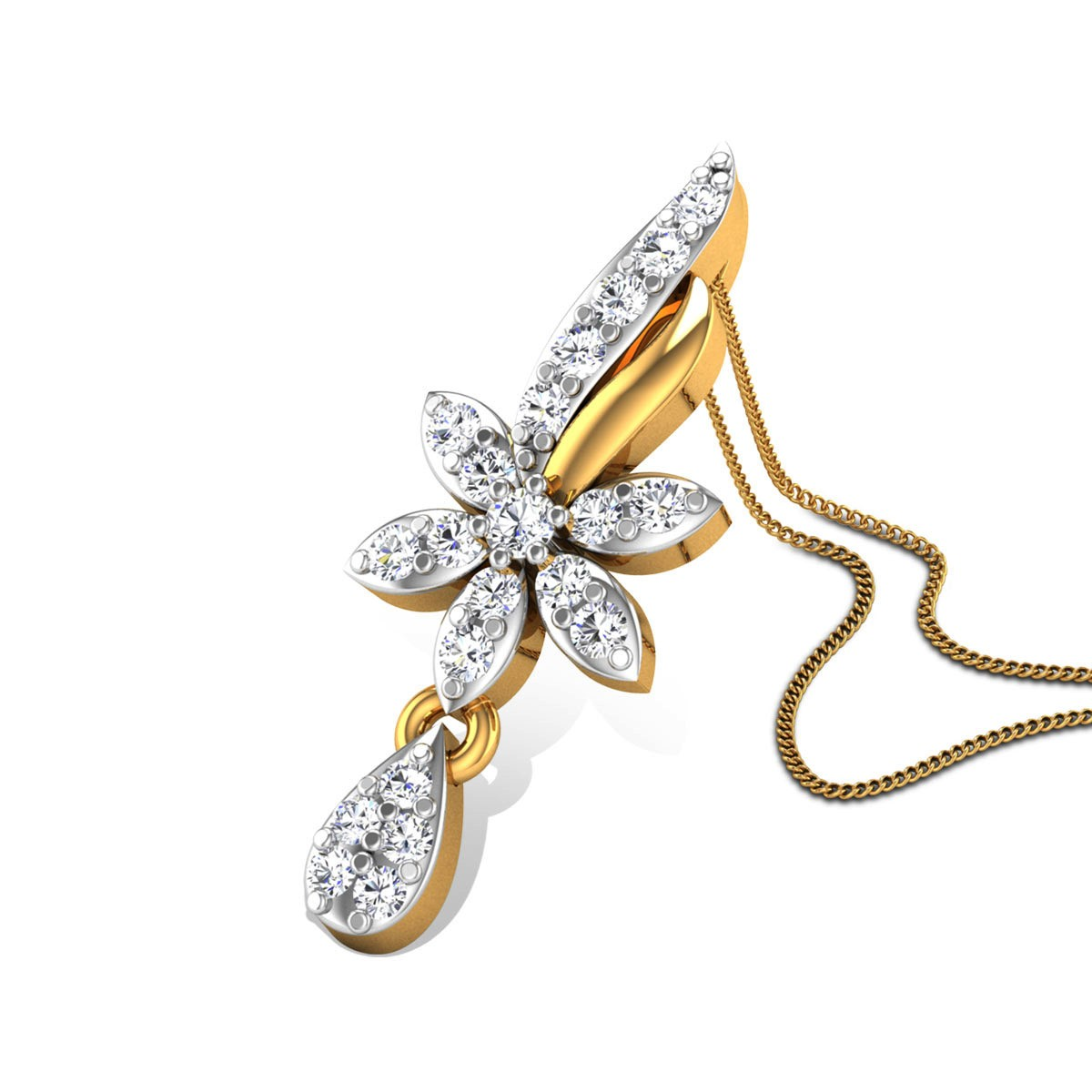 Aahlaadith Diamond Floral Pendant