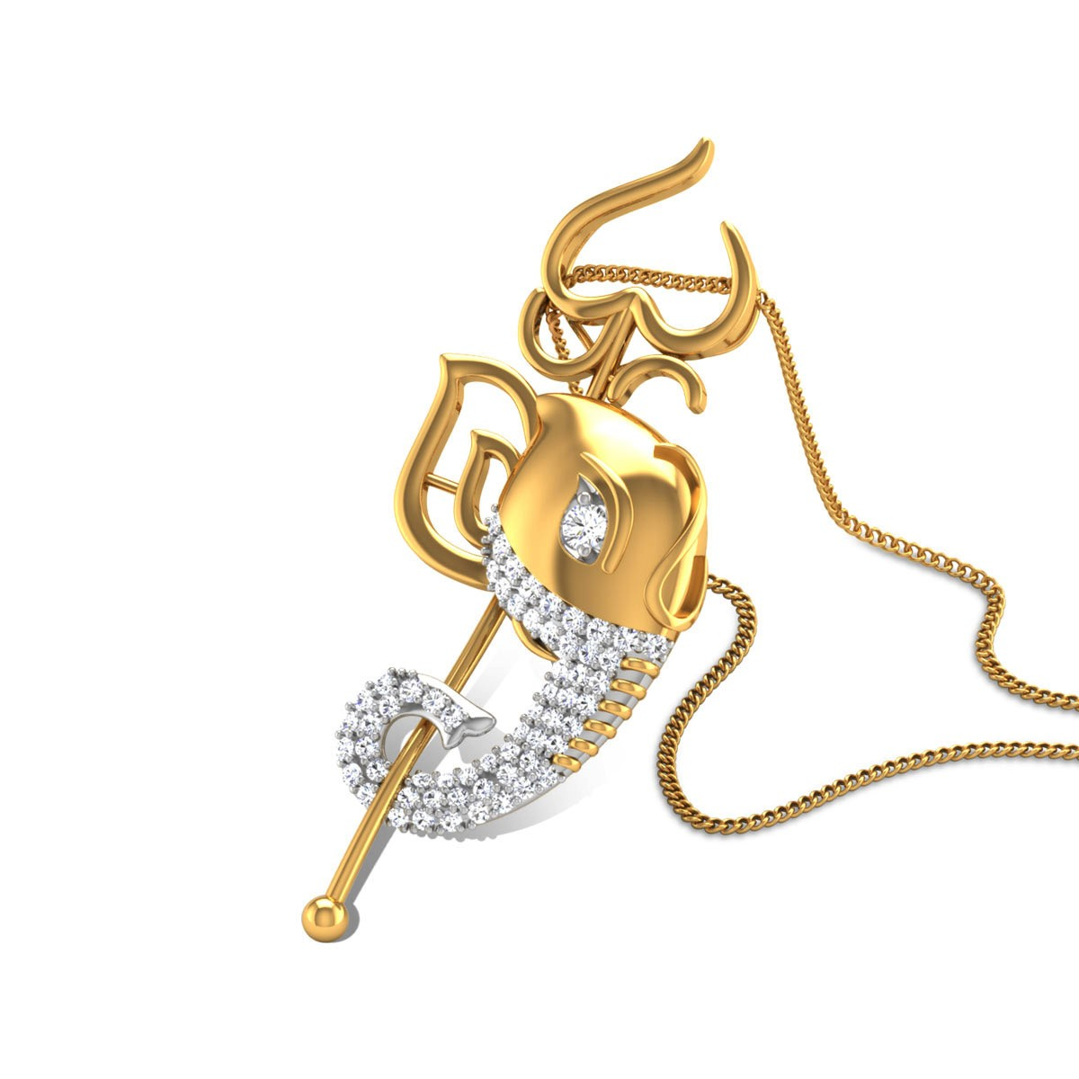 Gananayaga Thrisool Diamond Pendant