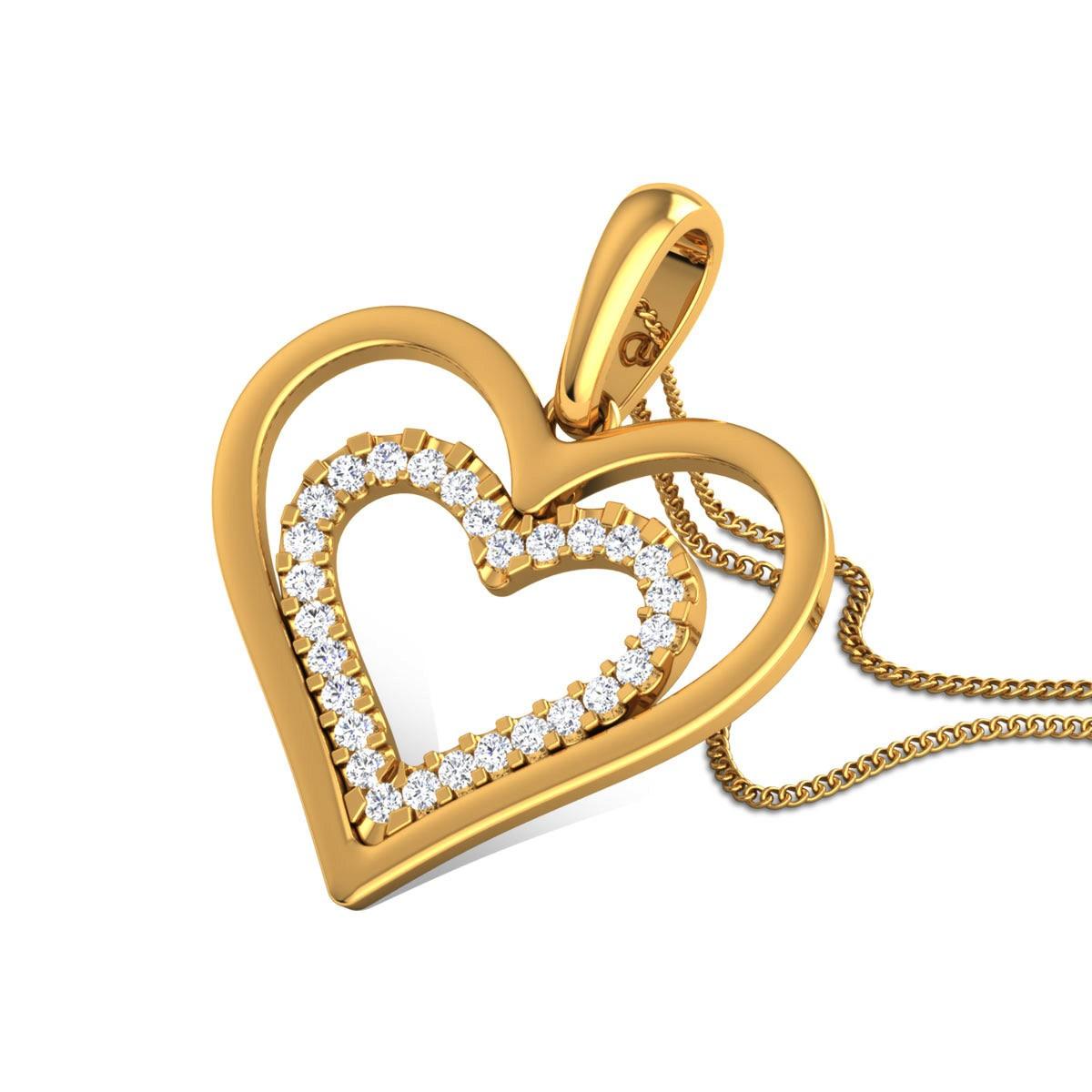 Bulbul Diamond Dual Heart Pendant