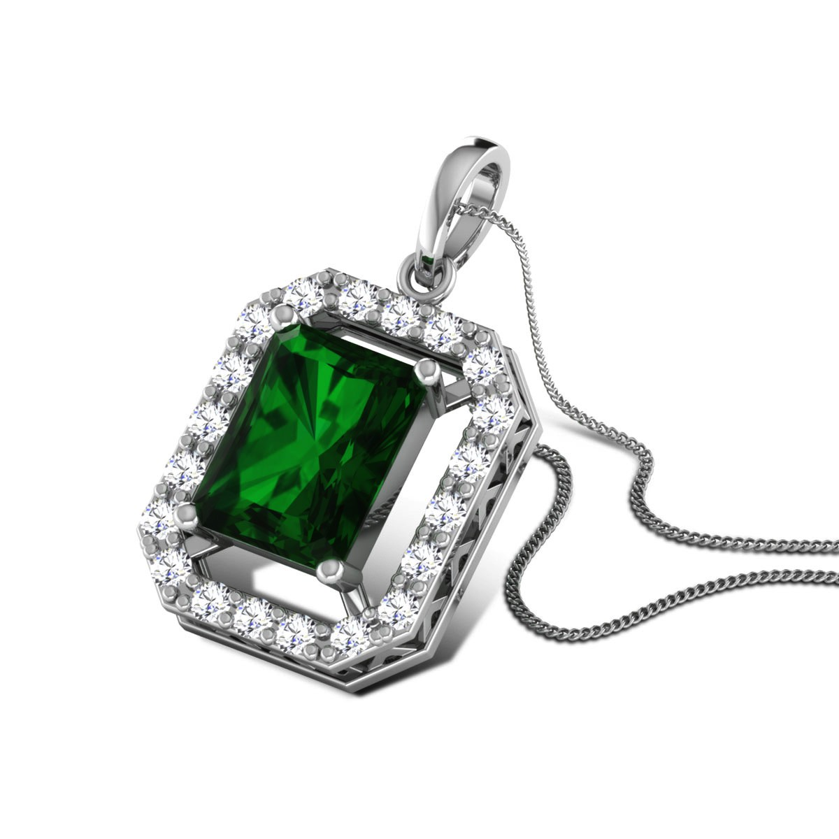Maribel Emerald Diamond Pendant