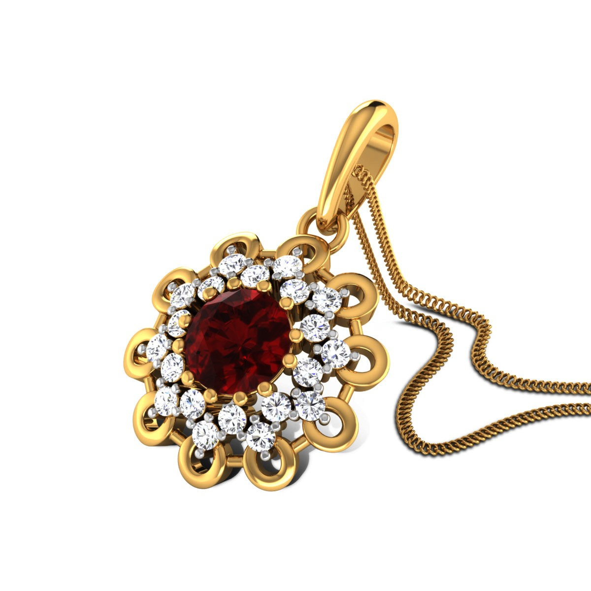 Lizeth Ruby and Diamond Floral Pendant