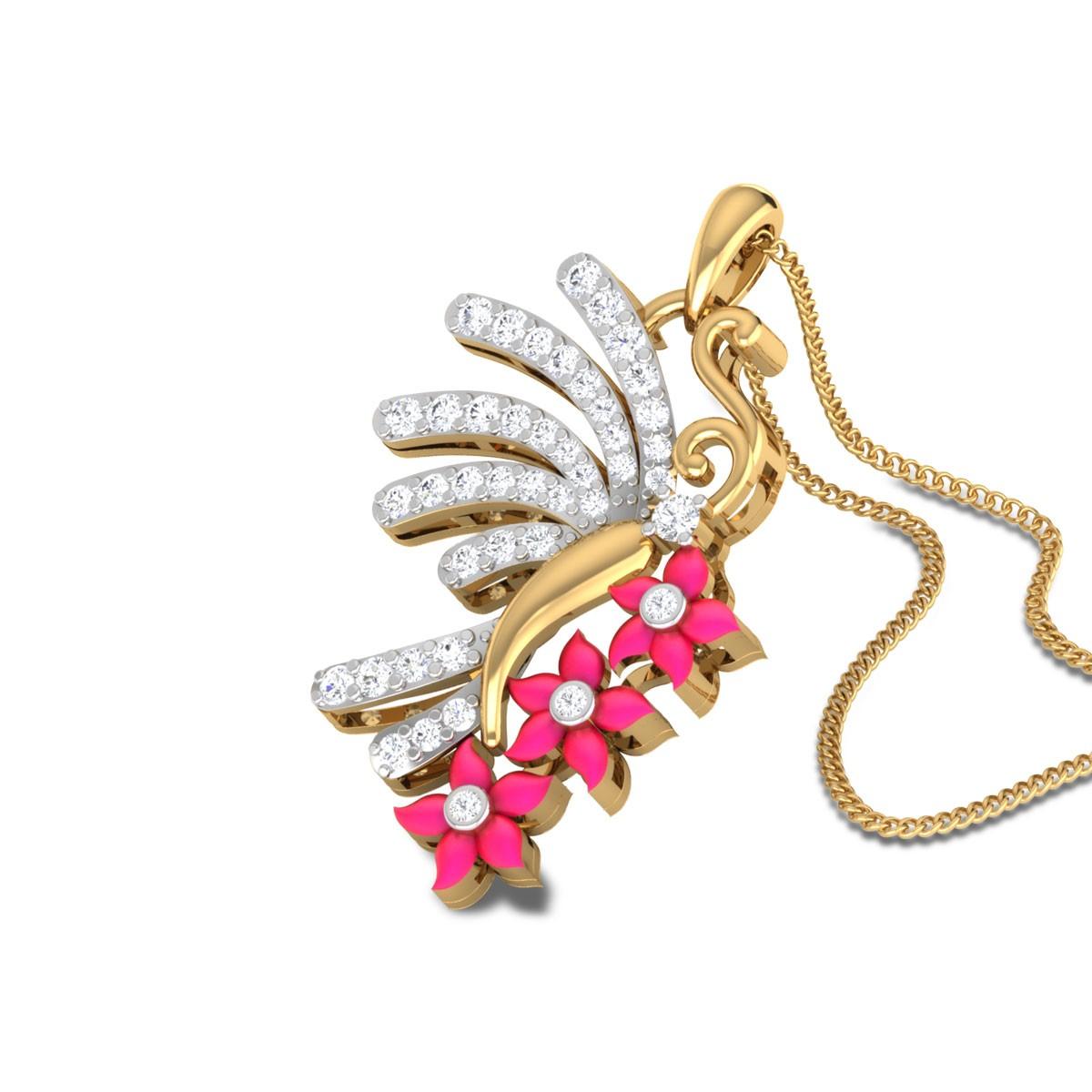 Jinsy Floral Butterfly Diamond Pendant