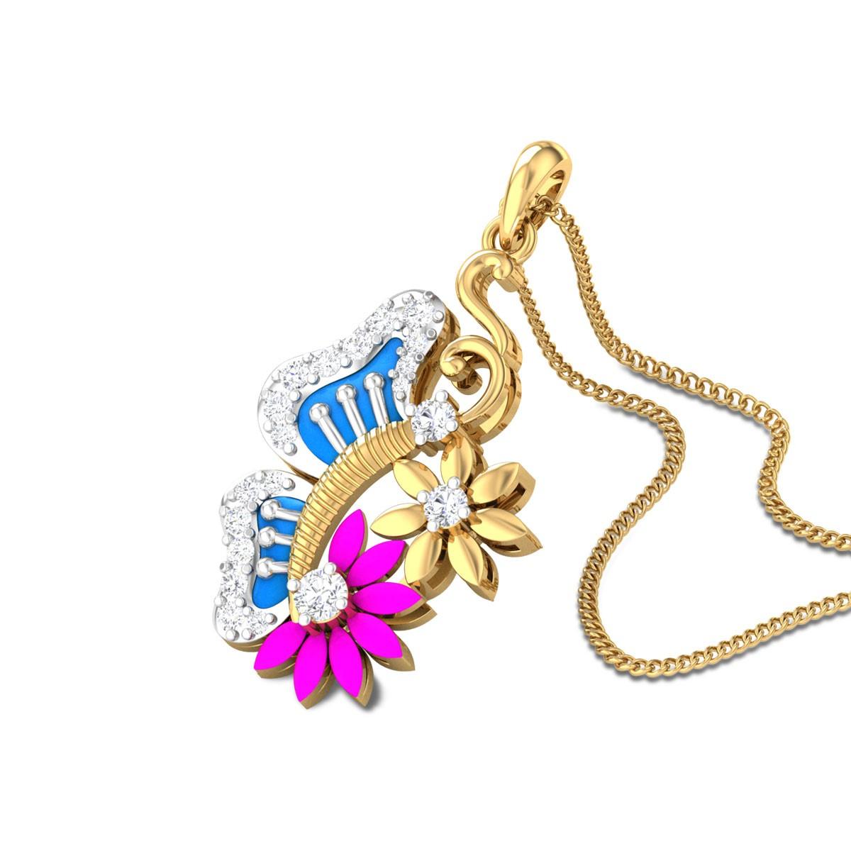 Jena Floral Butterfly Diamond Pendant