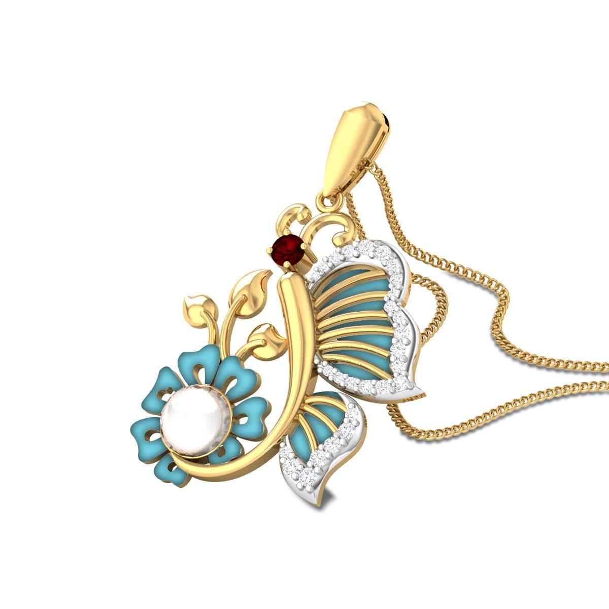Jelia Floral Butterfly Diamond Pendant