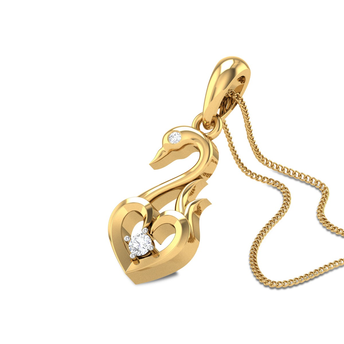 Haymitch Swan Heart Diamond Pendant