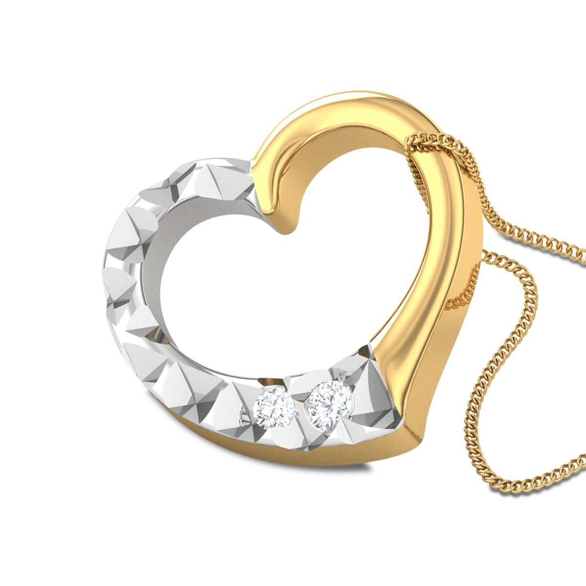 Hayworth Dual Tone Heart Diamond Pendant