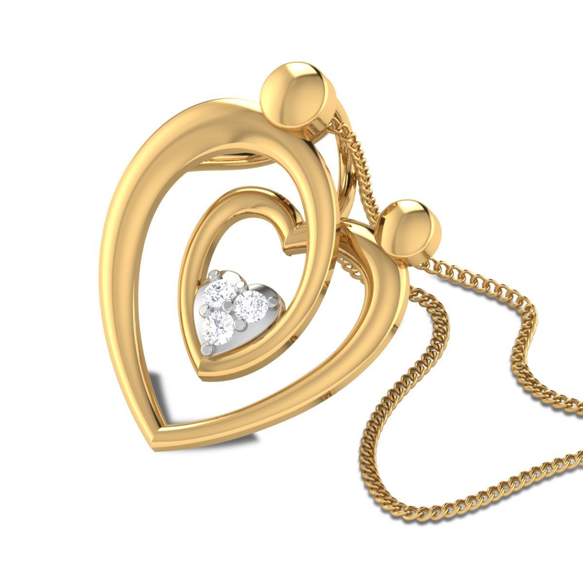 Inaara Twin Heart Diamond Pendant