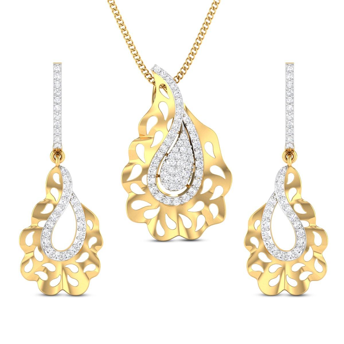 Gazala Diamond Pendant Set